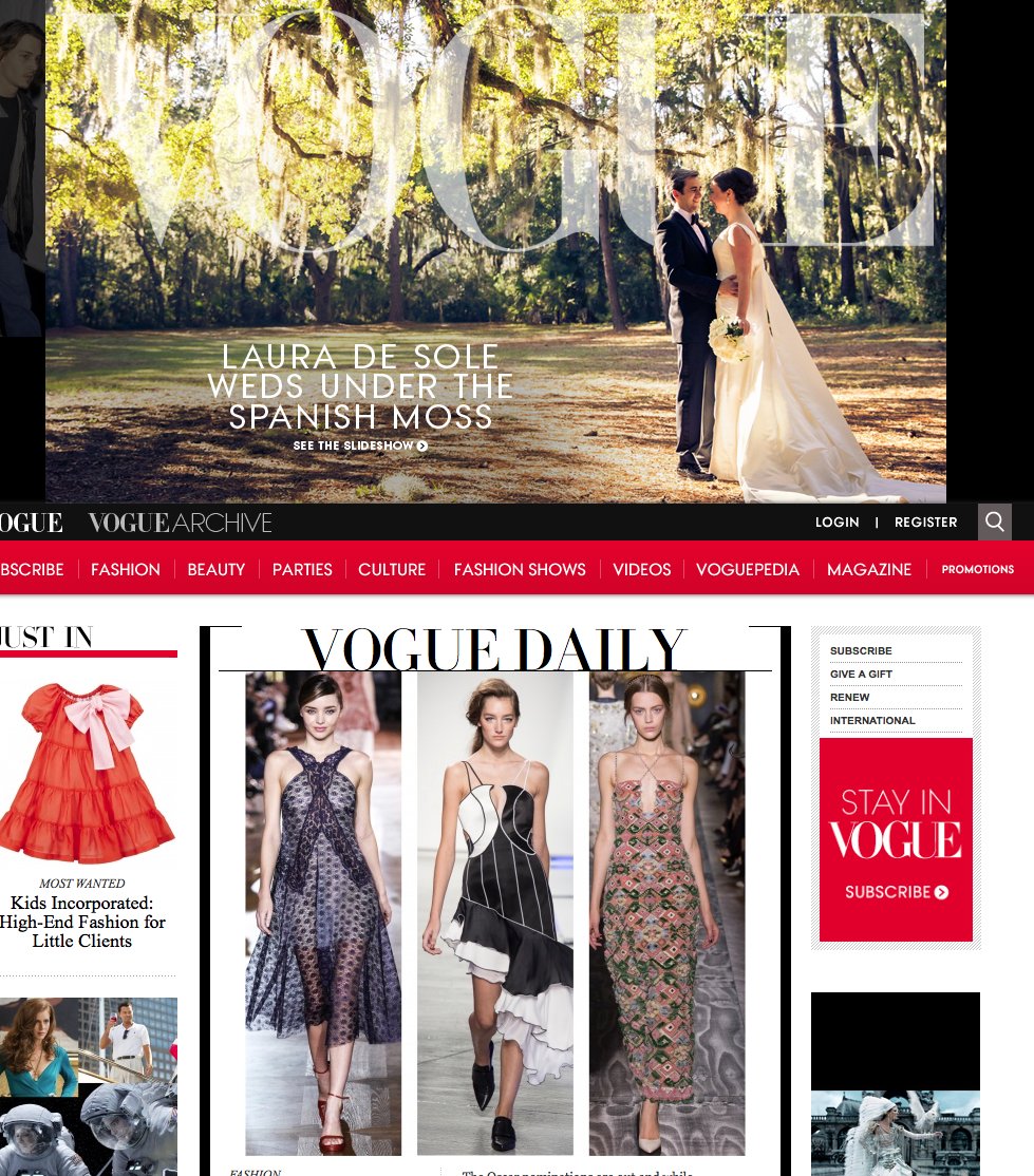 Vogue Feature Article Laura De Sole wedding. Vogue.com