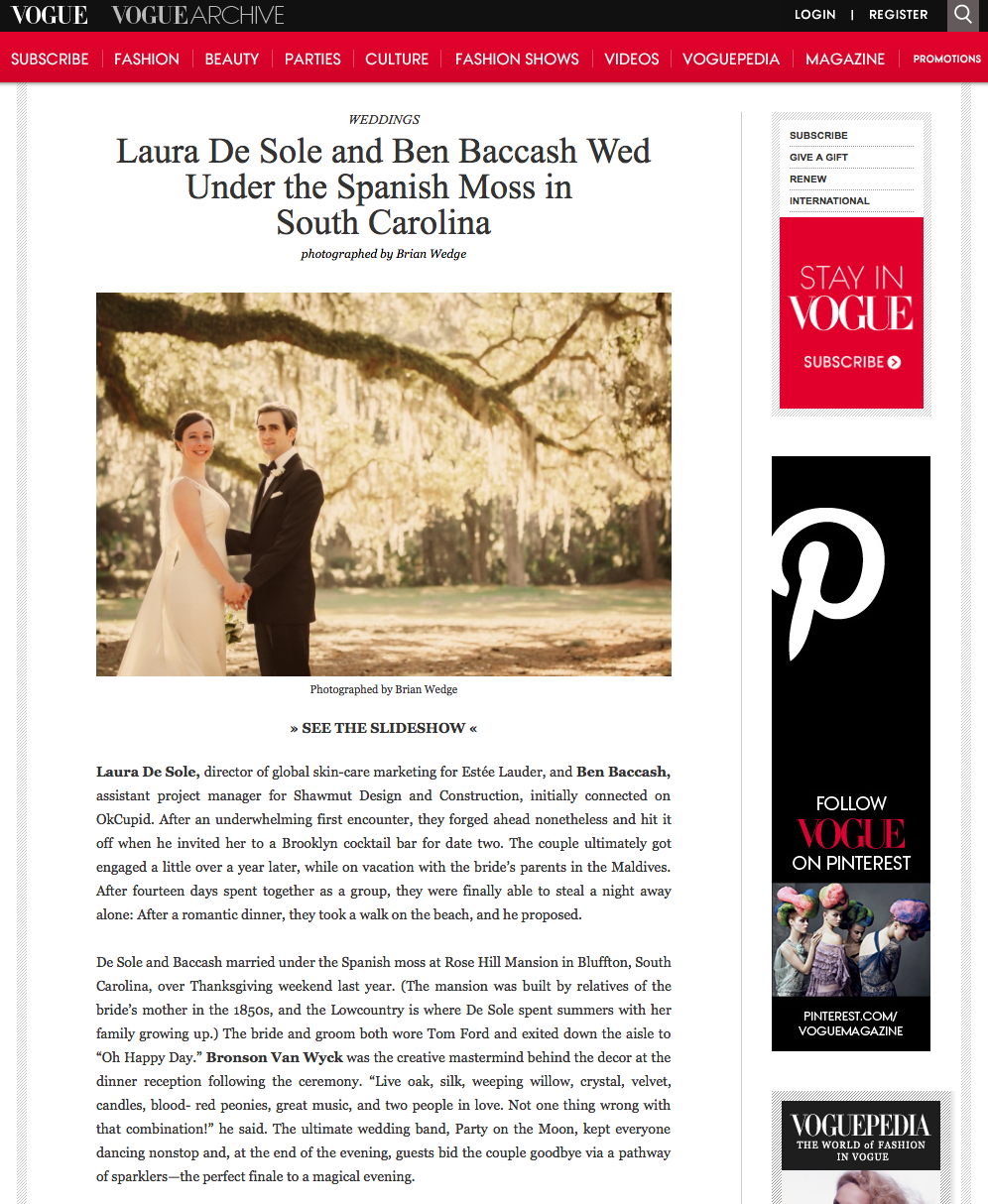 The VOGUE feature article of Laura De Sole & Ben Baccash