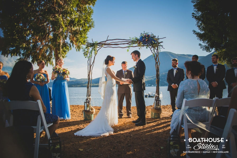 An incredible lakefront wedding. World class views with a mountain ridge in the background. Fantastic space for a wedding!