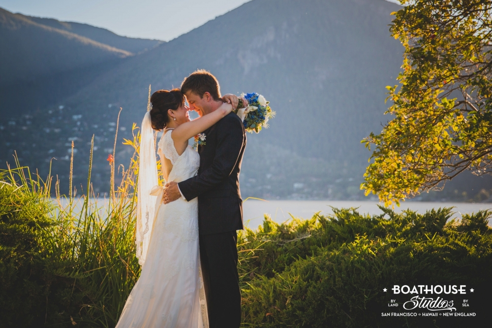 An amazing backdrop for this California lake wedding.